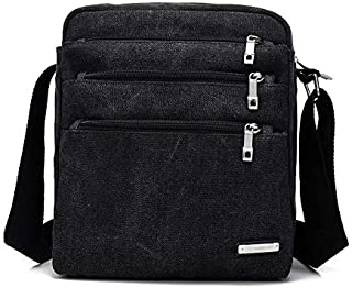 DIEBELLAU Men and Women Multi-Purpose Canvas Shoulder Bag Simple Wild Fashion Messenger Bag Cloth Bag (Color : Black)