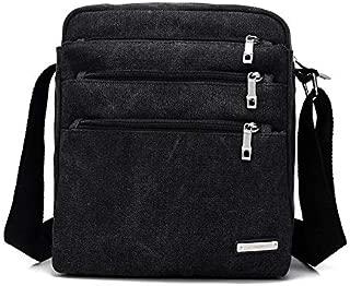 Men and Women Multi-Purpose Canvas Shoulder Bag Simple Wild Fashion Messenger Bag Cloth Bag (Color : Black)