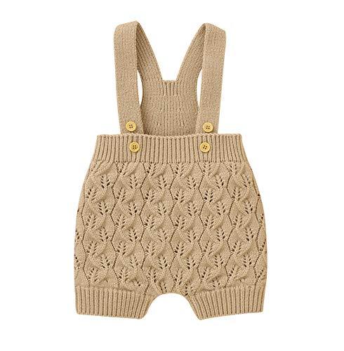 Lefyira Baby Boys Girls Suspender Shorts Knit Overalls High Elastic Waist Bib Pants Infant Solid Strap Sleeveless Jumpsuit (D-Khaki, 18-24M)