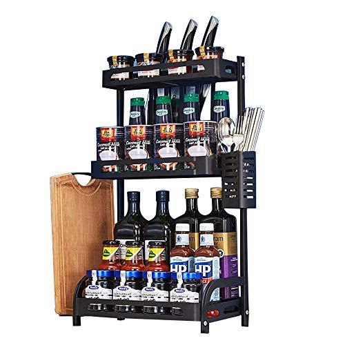 Spice Rack Organizer 3 Tier Spice Rack Holder for Cabinet Kitchen Rack Counter Storage Shelf Multifunctional Countertop Organizer With Knife Holder