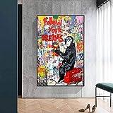 Sigue tu sueño graffiti art lienzo pintura mono street wall art pósters e impresiones imágenes de animales habitación infantil familia sin marco pintura decorativa Z55 60x80cm