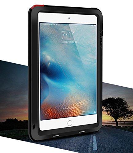 LOVE MEI Waterdichte Case voor Apple iPad Mini 4, Merk Aluminium Materiaal met Gehard Glas Scherm Cover *Twee Jaar Garantie* Zwart