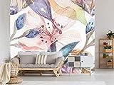 Oedim Papel Pintado para Pared Flores Acuarelas  Fotomural para Paredes   Mural   Papel Pintado   400 x 300 cm   Decoración comedores, Salones, Habitaciones