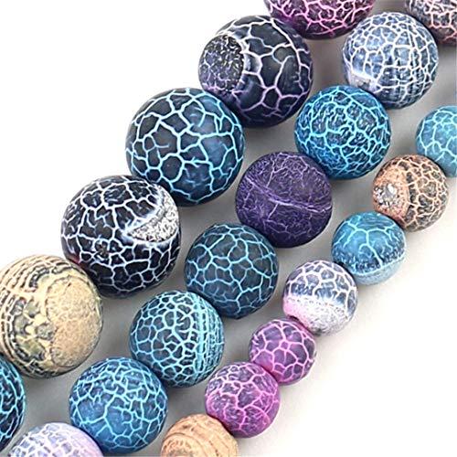 HUKGD Perlas de Piedra Natural Cuentas de ágata agrietadas Coloridas para la joyería Que realiza Bricolaje 15 Pulgadas 6/8/10 mm Multicolori 6mm About 61pcs