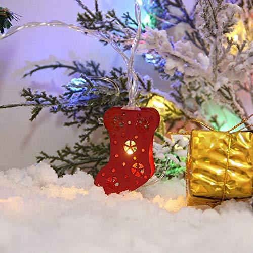 Weihnachten Lichterketten LED Schmiedeeisen Painted Glocken Elk Feiertags-Party-Deko Licht (Color : D, Size : 1.5 Meters 10 Lights)
