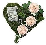 Grabgesteck Grabschmuck Grabaufleger Moosherz Grabherz Kreuz oder Engel Trauerherz Grab Herz Gesteck Rosen (30cm- 3 Rosen zart rosa Fürim)