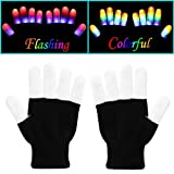 W-plus Flashing Finger Lighting Gloves LED Colorful Rave Gloves 7 Colors Light Show, Light-up Toys