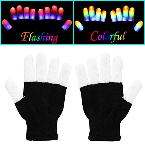 W-Plus Flashing Finger Lighting Gloves LED Colorful Rave Gloves 7 Colors Light Show - Light-up Flashing Novelty Toys - Amazing for Kids