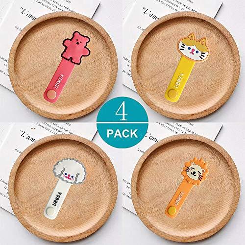 SevenPanda 4er Pack Neuheit Tragbare Mini Candy Farbe Karikatur Handy Headset Kopfhörer Kabelbinder Organizer Wrap - Bär Rosa&Katze Gelb&Schafe Weiß&Löwe Gelb