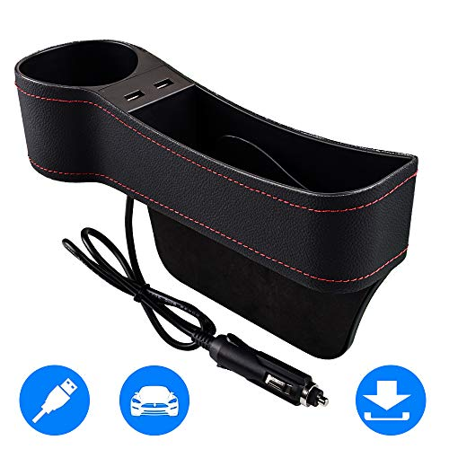 SUNMORN Car Seat Gap Organizer, Multifunctional with Dual USB Charging, Cup Holder, Leather Storage Box, for Driver Side