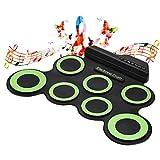 LBWNB Kits De Batería De Tambor Electrónica De Silicona Infantil para Niños Instrumento Musical con 7 Almohadilla De Tambor De Silicona 2 Pedales Y Baquetas para Principiantes,A