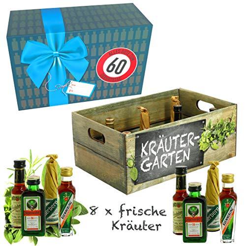 CREOFANT Kräutergarten mit Geburtstagszahl 60. Geburtstag · Witzige Geschenkidee für Männer und Frauen mit Alkohol · 8 x Kräuter-Likör · Hochwertige Geschenkbox · Geburtstagsgeschenk für Männer