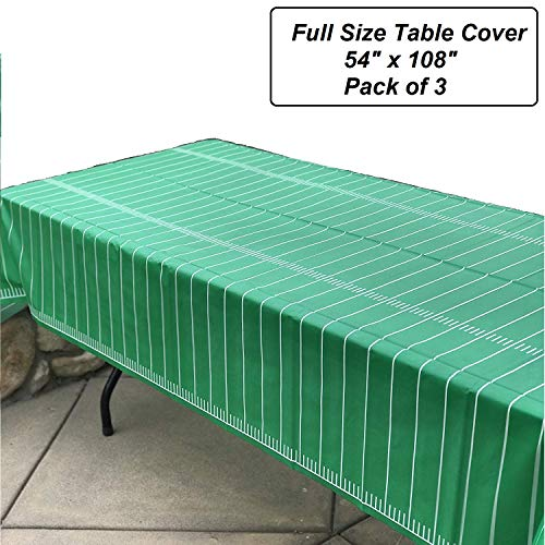 """Pack of 3 Game Day Football Tablecover 54""""x108"""" by Oojami"""