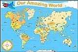 Tapis carte du monde «Our Amazing World» en vinyle, pour les enfants - 120 x 180 cm - compatible avec l'utilisation d'un robot-aspirateur - (en anglais)