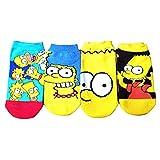 4 Paar bunte Socken von Simpson, Cartoon, lustige Knöchelsocken aus Baumwolle, für den Sommer, lässige Socken für Damen & Herren