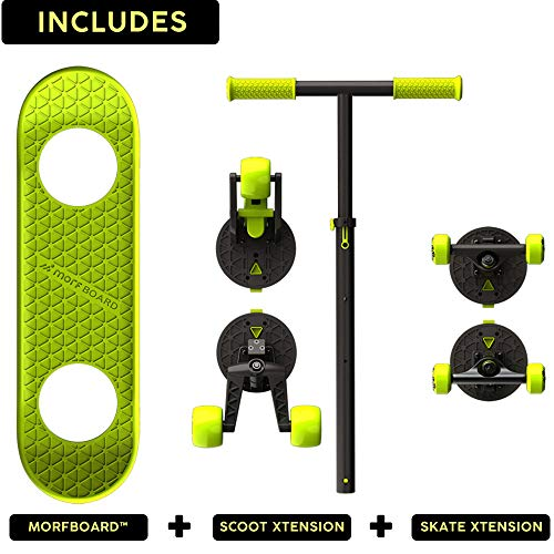 MORFBOARD Skate & Scoot Combo, 2-in-1 Kick Scooter for Kids with 3-Position Adjustable Height and Extra Wide Skateboard Deck, For Boys or Girls 8 Years and Up