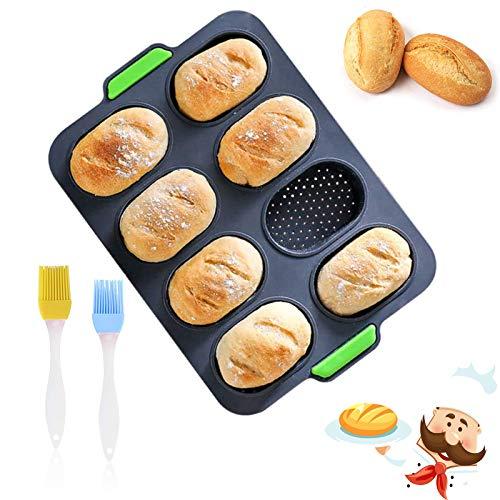 Mini Baguette Backblech ovale Silikonform 8 Einheiten backform brötchen silikon,Antihaft-Lochblech Brot Crisping Tray, Laib Backform, for French-Bread mit knusprigen Krusten (grau)