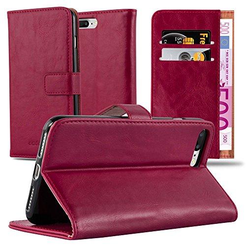 Cadorabo Custodia Libro per Apple iPhone 8 Plus / 7 Plus / 7S Plus in Rosso Vinaccia - con Vani di Carte, Funzione Stand e Chiusura Magnetica - Portafoglio Cover Case Wallet Book Etui Protezione