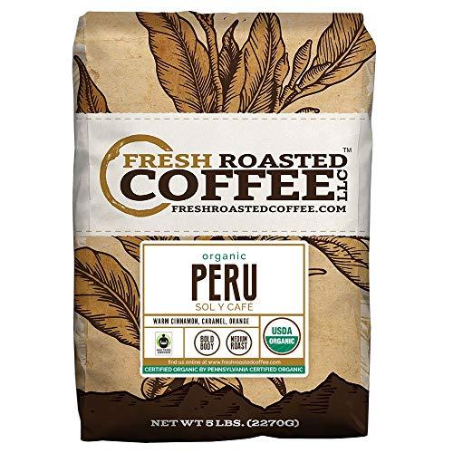Fresh Roasted Coffee LLC, Organic Peruvian Coffee, Whole Bean, 5 Pound Bag