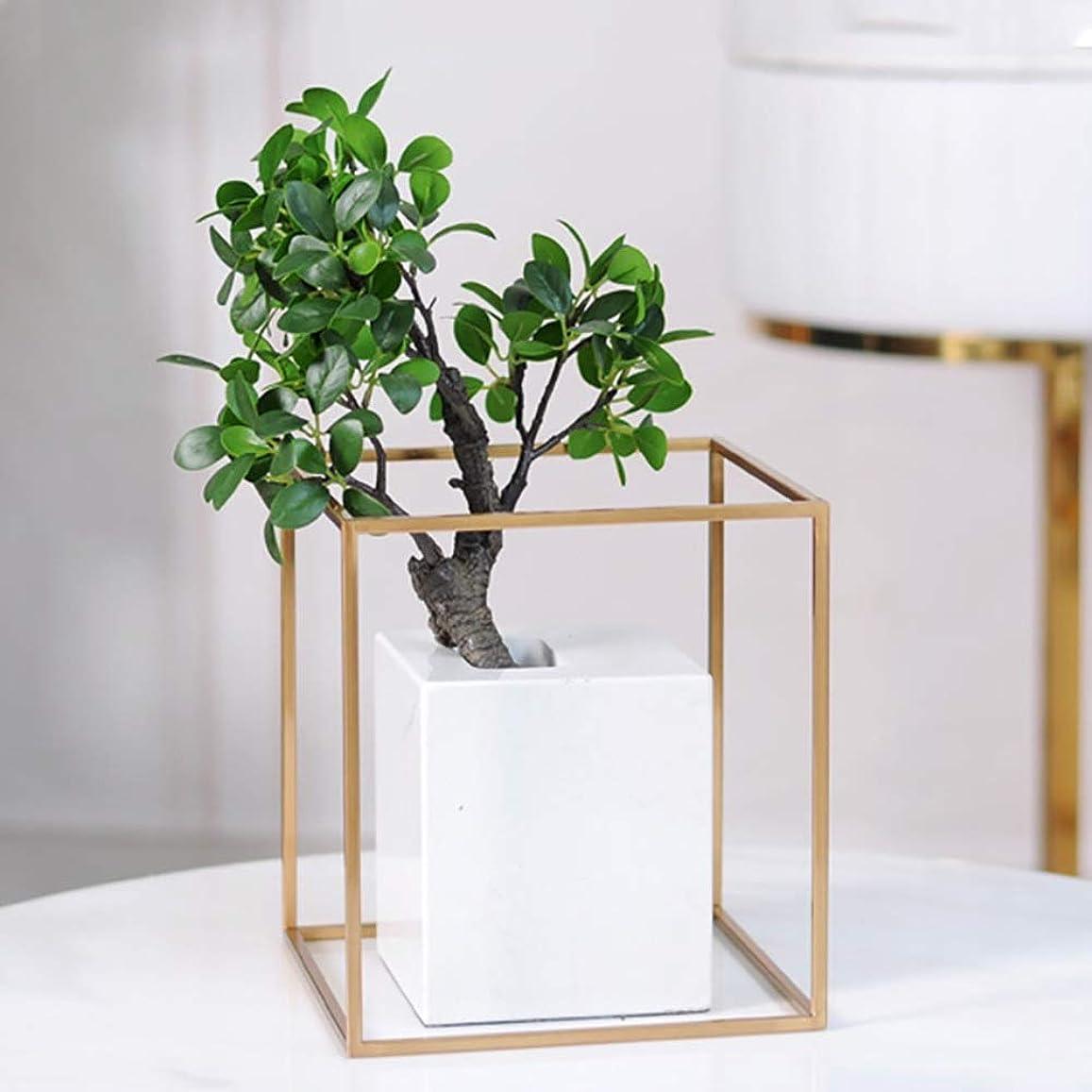 預言者知的男性ホリデーギフト クリエイティブ金属花瓶マーブルクラフトガーデンフラワーアレンジメント北欧スタイルシンプルな花のフレーム飾り36 * 15センチメートル (Size : L15*H22cm)