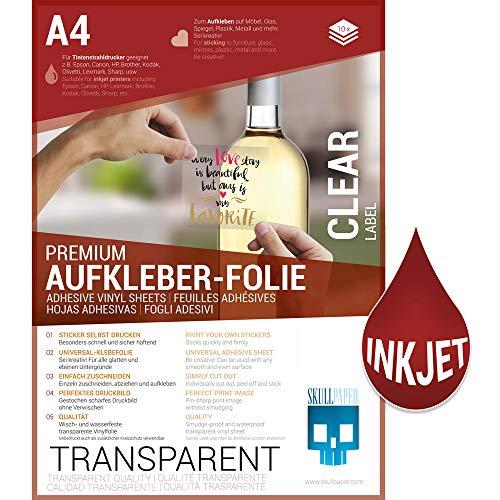 SKULLPAPER® Klebefolie transparent zum aufkleben und selbst gestalten - für Inkjet Tintenstrahldrucker (A4-10 Blatt)