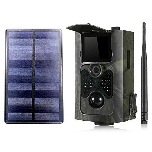 YTLJJ HC550M 2G Wildkamera Fotofalle 16MP 1080P mit Handy übertragung, Jagdkamera 2G GSM GPRS 30 Pcs Low-Glow 850nm IR-LEDs, Infrarot-Nachtsicht 20m, IP54 wasserdichte mit SD-Karte und Solar Panels