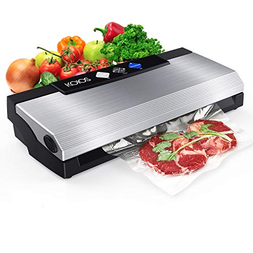 KOIOS Vacuum Sealer Machine, 80Kpa Automatic Food Sealer with Cutter for Food Savers, 10 Sealing Bags (FDA-Certified), With Up To 40 Consecutive Seals, Dry & Moist Modes, Compact Design (Silver)