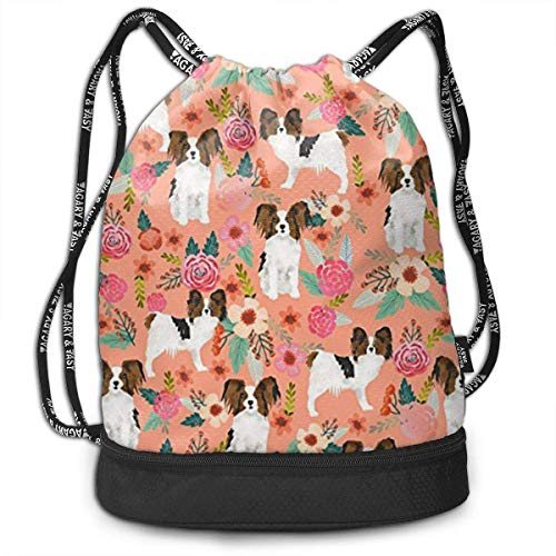 PmseK Turnbeutel Sportbeutel Kordelzug Rucksack, Papillons Floral Peach Multifunctional Bundle Backpack Shoulder Bag for Men and Women