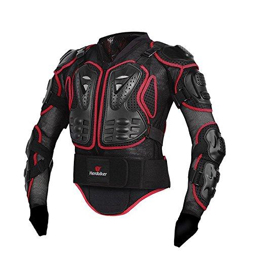 FAStar motocicleta protección chaqueta con armadura cuerpo completo Pecho Espalda Hombro brazo protector guardia Gear para motocicleta XXXL, rojo, L