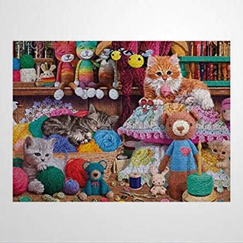 500 Piece Wooden Jigsaw Puzzles for Adults Kids Crochet Kittens Learning Educational Puzzles Toys for Boys and Girls