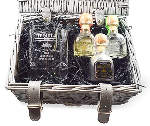 Personalised Hamper with Engraved *Patron Tequila Design* Dimple Glass Tumbler & 3 Miniature Bottles of Patron Tequila