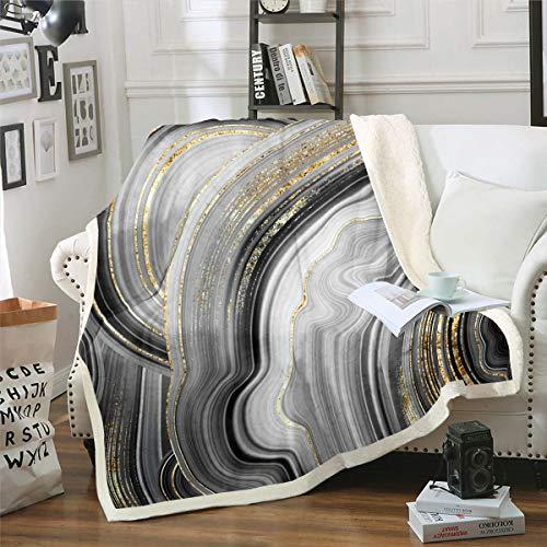 Manta de forro polar de mármol gris estampado de mármol para hombres, mujeres y adultos, manta de felpa abstracta suave para sofá cama, sofá cama tamaño King 213 cm x 224 cm