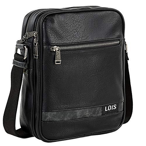 Lois - Bolso con Bandolera Ajustable para Hombre Ideal para Uso Diario 310226, Color Negro