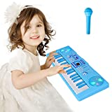 Sanmersen Piano for Kids, 37 Key Multi-function Electronic Keyboard Piano Play Piano Organ with Microphone Educational Toy for toddlers Kids Children (Blue)