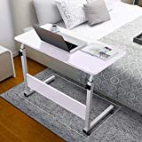 Mobile Bedside Computer Table Standing Desk,Adjustable Height Laptop Stand Side Table with Lockable Wheels,Home Office Workstation Desk,Small Tray Table for Standing or Sitting (White)