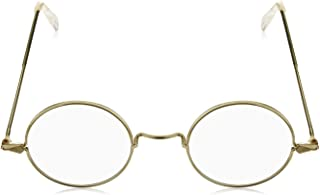 4E's Novelty Round Circle Costume Glasses Kids Old Man Old Lady Granny Fake Glasses 100th Day of School Costume Accessories Boys Girls Round Gold Frame Glasses Non-Prescription