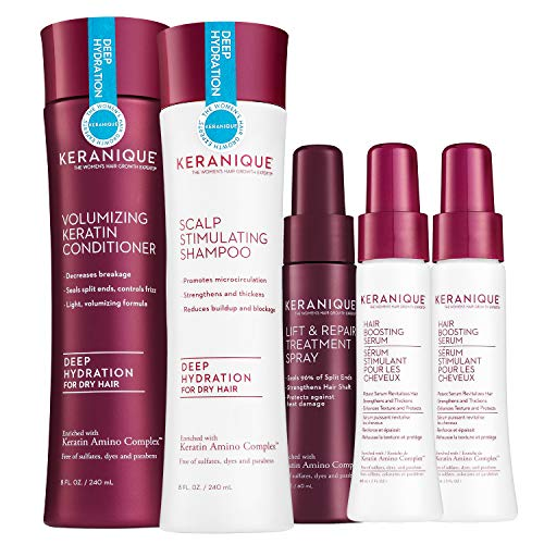 Keranique Deep Hydrating Thicker, Fuller Hair Kit – 60 Days | Keratin Complex, Free of Sulfates, Dyes and Parabens | Shampoo & Conditioner, 2 x Follicle Boosting Serum, Lift and Repair Treatment Spray