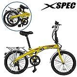 Xspec 20' 7 Speed Folding Mini Compact Bike Bicycle Urban Commuter Yellow New