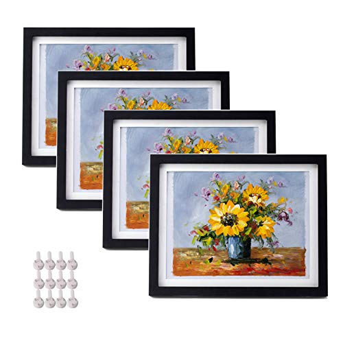 suituts 10X12 Black Picture Document Frames Set of 4, Display 9X11 photos with Mat or 10X12 Without Mat, Wall Gallery Painting Frames Made of Solid Wood and Plexiglass, Photo Frames for Table Top and Wall Decor(Black)