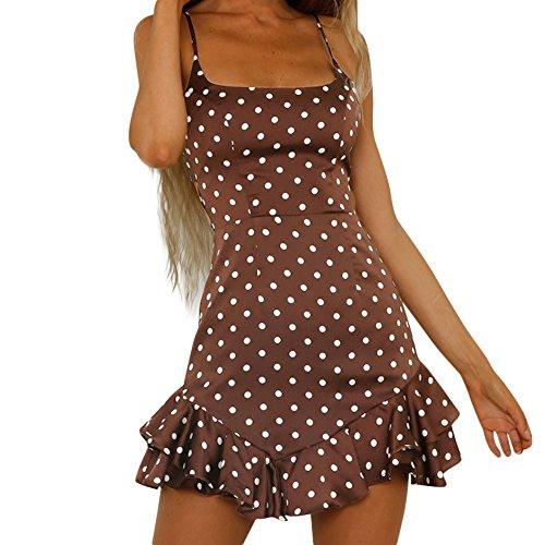 Vestido de Playa sin Mangas con Espalda Lunares con Estampado de Lunares en la Espalda para Mujer