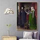Cuadro de pared de lienzo Pintura famosa Van Eyck Arnolfini,retrato de boda,lienzo,póster,impresión,arte de pared para la decoración del hogar de la sala de estar Sin marco ( Size : 60x80cm no frame )