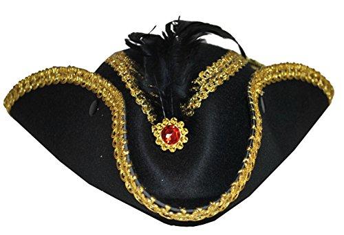 Karneval Klamotten Kostüm Dreispitz für Damen Zubehör Fasching Karneval