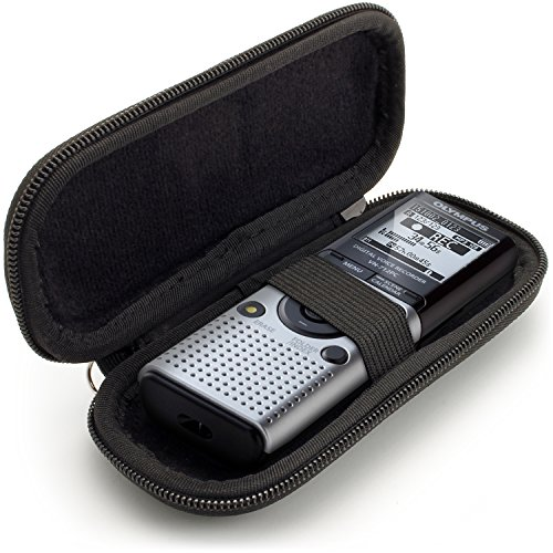 igadgitz U6688 EVA Carrying Hard Case Cover Compatible with Olympus Digital Voice Recorders - Black