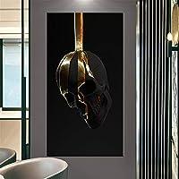 抽象的なブラックゴールドフラワーキャンバス絵画ポスター&プリント壁アート画像モダンなリビングルーム家の壁の装飾画像60x100cmフレームレス