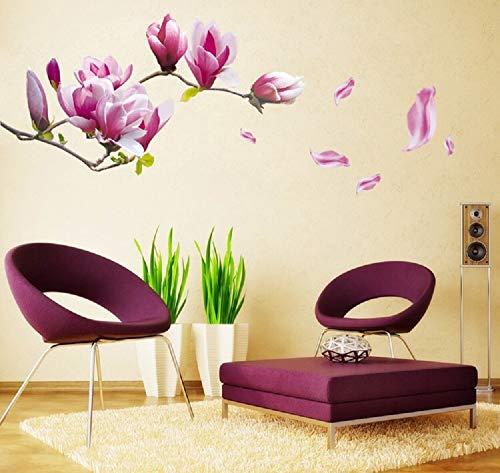 Wandsticker4U- Wandtattoo Blumen MAGNOLIE lila | Wandbilder: 150x55cm | Wandsticker Baum-zweige Blüten Garten Wand-aufkleber Pflanzen | Deko für Wohnzimmer Schlafzimmer Küche Bad Fenster Treppe Flur