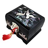 Mother of Pearl Music Bird Design Black Wooden Women Jewelry Mirror Trinket Keepsake Treasure Gift Musical Asian Lacquer Watch Ring Box Case Chest Organizer with Crane and Pine Tree