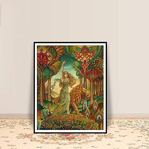 Geiqianjiumai Tarot heidnischen psychedelischen psychedelischen Jugendstil drucken böhmischen psychedelischen heidnischen psychedelischen Mythologie Poster rahmenlose Malerei 78x108cm