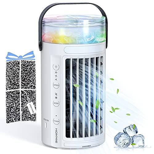Hommie Condizionatore Portatile, 4 in 1 Raffreddatore D'aria con Tre Velocità del Vento e 7 Colori,450 ml Cooler Ventilatore,Adatto per Ufficio/Dormitorio/Cucina/Camera da Letto/Campeggio