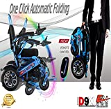 5 Colors (XL) ONE Click Automatic Folding Lightweight Best Exclusive Motorized Electric Wheelchair Scooter, Airplane Travel Safe, Heavy-Duty Power Electric Wheelchair (21.5'' seat Width) (Blue)