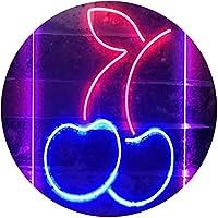 Cherry Fruit Store Dual Color LED看板 ネオンプレート サイン 標識 赤色 + 青色 300 x 400mm st6s34-i3297-rb